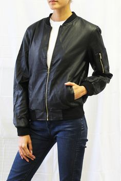 Faux Leather Bomber Jacket  #fauxleather #bomberjacket