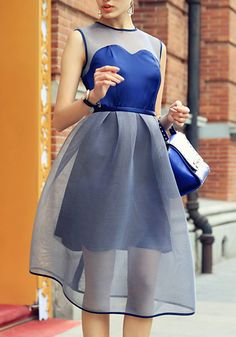 Blue Contrast Mesh Sleeveless Flare Dress 36.00