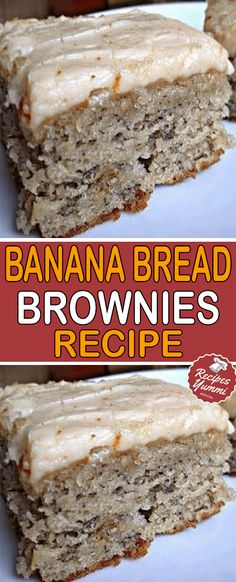 cream, butter, and eggs until creamy. Blend in bananas and vanilla cream, butter, and eggs until creamy. Blend in bananas and vanilla Köstliche Desserts, Delicious Desserts, Dessert Recipes, Yummy Food, Banana Bread Recipes, Brownie Recipes, Banana Bread Icing Recipe, Banana Bread Brownies, Cheesecake