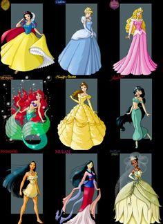 disney princesses snow-white cinderella aurora ariel mermaid belle jasmine pocahontas mulan tiana