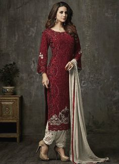 Buy Dark Maroon Georgette Straight Pant Suit, Stones , Embroidered, straight pant suit Online Shopping | SLSCC42001