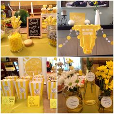 You Are My Sunshine baby shower, yellow and gray, popcorn, candy bar, daisies