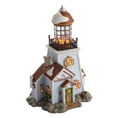 Amazon.com: New England Village from Department 56 Snail Point Lighthouse: Home & Kitchen