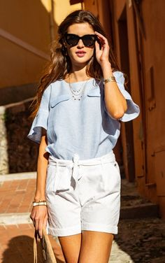 #terreetmer #nice #frenchriviera Bell Sleeves, Bell Sleeve Top, French Riviera, White Shorts, Nice, Blouse, Tops, Women, Fashion