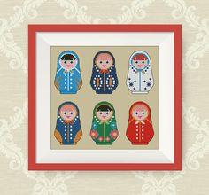 BUY 2, GET 1 FREE! Matryoshka six russian dolls cross stitch pattern, Nesting Doll cross stitch pattern, Instant Download pdf, P063 by NataliNeedlework on Etsy
