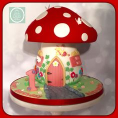 Fairy Toadstool cake - Cake by Crew Cakes Fairy House Cake, Toadstool Cake, Mushroom Cake, Fairy Birthday Cake, Tree Cakes, Fairy Cakes, Giant Cupcakes, Just Cakes, Buttercream Cake