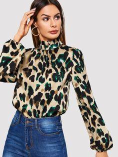 0c995e5e0a Bishop Sleeve Frill Neck Leopard Blouse