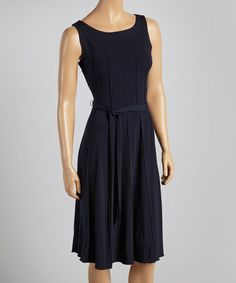 Look at this #zulilyfind! Navy Sash-Tie Dress by Voir Voir #zulilyfinds