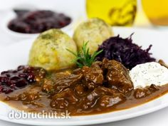 Picture of Gourmet Venison goulash with potato dumplings and garnish stock photo, images and stock photography. South African Recipes, Ethnic Recipes, Spanish Cuisine, Venison Recipes, Muscle Food, Goulash, Fat Burning Foods, Food Design, Dumplings