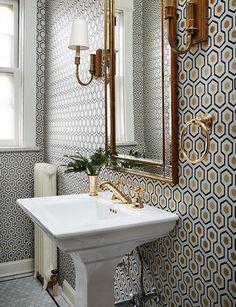Retro Bathroom with Geometric Wallpaper - Scandinavian Interiors