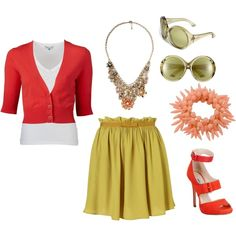 Coral/Green spring outfit