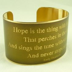 Hope is the thing with feathers - Emily Dickinson Literary Poetry Brass Cuff Bracelet