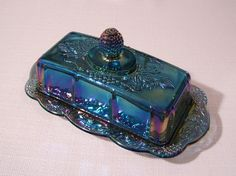 Blue Carnival Glass Harvest Covered Butter Dish - Indiana Glass Company via Etsy