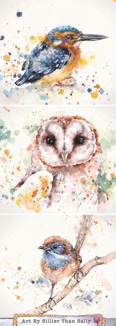 Watercolor Bird Art By Sillier Than Sally. Azure Kingfisher, Barn Owl and Mallee Emu Wren