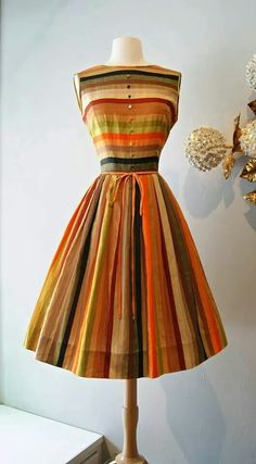 Vintage Autumn Striped -- the dress is really pretty, plus these are my colors. Vintage Outfits, Vintage 1950s Dresses, Vintage Wear, Vintage Looks, 1950 Outfits, Vintage Clothing, 1960s Dresses, 50s Vintage, Vintage Style