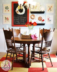 I've seen this ugly table and chairs in many homes, my mom even had it, but here they look cute! Positively Splendid {Crafts, Sewing, Recipes and Home Decor}: Vibrant Kitchen Update Eat In Kitchen, Updated Kitchen, Kitchen Decor, Kitchen Design, Kitchen Ideas, Bakers Kitchen, Room Kitchen, Kitchen Inspiration, Kitchen Stuff