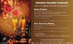"It feast season, celebrate your holiday season with our special package JS Luwansa Hotel and Convention Center Proudly Presents  Holiday Season Package ""Stay 2 Nights and Get Dinner for 2"" #hotel#promotion#holiday#chrismast#newyear"