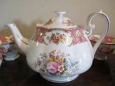 Set Royal Albert England Lady Carlyle Bone China Teapot Creamer Platter Tray | eBay