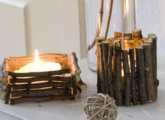 After pruning the bushes in your garden keep some of the twigs behind. Cut them to size and glue them to a container for a fun diy twig candle holder. Twig Crafts, Decor Crafts, Wood Crafts, Nature Crafts, Diy Candle Holders, Glass Holders, Twig Wreath, Autumn Crafts, Kids Wood