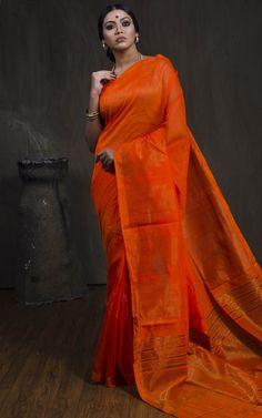 42283a163 Khadi Cotton Silk Saree with Temple Border in Orange