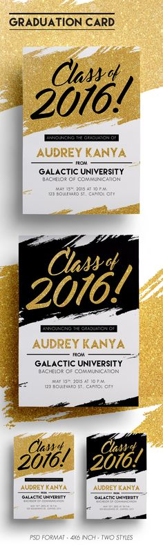 It is a graduation card, you can use it as a graduation party invitation, graduation announcement. There's 2 text styles: Black & Gold. Just simply change the text. If you like it and find it useful, click on the link provided. :)