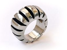 Solid Sterling Silver RingCarved ring number 3 FREE by Shlomzion, $385.00