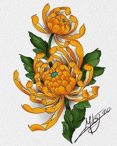 Traditional Tattoo Sketches, Traditional Japanese Tattoos, Flower Tattoo Designs, Flower Tattoos, Crisantemo Tattoo, Chrysanthemum Tattoo, Tattoo Artwork, Japan Tattoo, Peony Flower