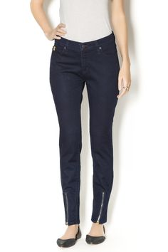 Experience a fusion of fashion and fit with these SHAPE yoga jeans. They lengthen and form to your individual curves with the latest in memory and shaping technology. Get that sculpted look you want while your jeans do all the work! Dark navy with front zipper detail at bottom. Pair these high rise skinnies with your oversized tops and sweaters! High Rise Skinny by Second Clothing Company. Clothing - Bottoms - Jeans & Denim Clothing - Bottoms - Jeans & Denim - High-Waisted Maryland