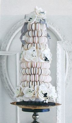 white and black macaron wedding cake