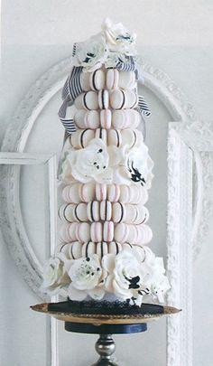 white and black macaron wedding cake