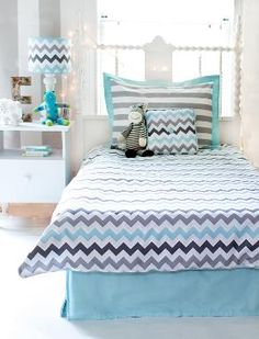 Aqua and Gray Chevron Kids Bedding!