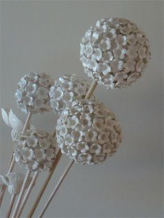 1 small Handcrafted ceramic clay pompom style alium flower  wedding / bouquet