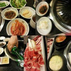 #dinner #Korean #DJK  #sidedish #steamedegg #kimch #sause #beef #beefbrisket #soju #porkbelly  #Korean #restaurant #rice by astimegoesbysuddenly