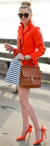 Love this Bikini Wax inspired look! Preppy Style, Style Me, Street Chic, Street Style, Orange Fashion, Coral, Classic Outfits, Swagg, Passion For Fashion