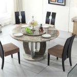 round grey granite stone dining table sets in contemporary style