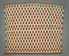"blanket | Coast Salish | dyed commercial wool yarn + cloth | 47"" x 50"" 