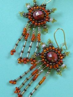 Beaded Earrings Tribal Autumn by GemRio on Etsy, $22.00