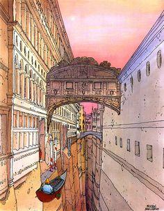 "moebius (jean giraud) - ""venise celeste - carnaval vénitien"", 1984."