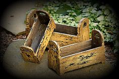 New Country Primitive Rustic Set 3 Tan Nested Planter Tool Box Wood Caddy Basket
