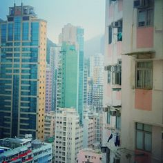Pastel buildings in Hong Kong.