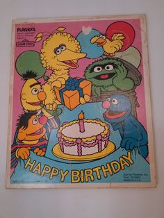 Vintage Playskool HAPPY BIRTHDAY Tray Puzzle Sesame Street 315-31 13pcs 2-5yrs #playskool