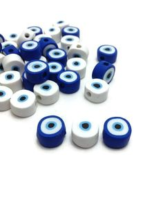 Evil Eye Beads, Handmade Beads, Clay Beads, Jewelry Beads, Baptism Decorations, Jewelry Making Supplies, DIY Jewelry, Pack of 10, 30 or 50