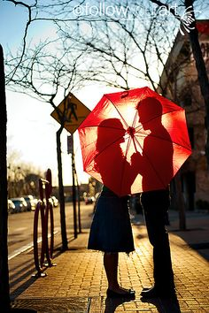 Red umbrella silhouette ...engagement photos!