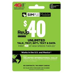Net 10 $40 Prepaid Card, Pre-Paid Cell Phone Card