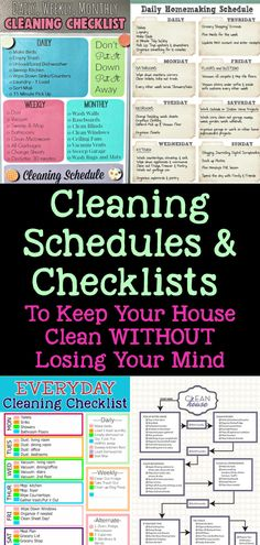 Cleaning schedules and cleaning checklists - weekly house cleaning schedule and cleaning routine checklist, daily weekly monthly cleaning schedule, monthly housekeeping schedule and everyday cleaning check lists printable daily cleaning rota Weekly House Cleaning, Monthly Cleaning Schedule, House Cleaning Checklist, Clean House Schedule, Cleaning Lists, Cleaning Hacks, Cleaning Challenge, Speed Cleaning, Cleaning Rota