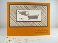 "Stampin Up ""Hot Diggity Dog"" Handmade Dachshund Birthday Card #Handmade #BirthdayAdult"