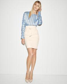 f08ed46e55d7 Black Studio Stretch Pintucked Pencil Skirt Suit