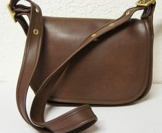 c99b65d363 ... Vintage COACH Brown Leather Hobo Cross body Bag PATRICIAS Legacy Saddle  Bag ...