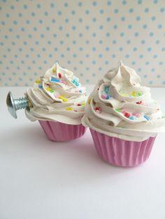 DRAWER PULLS  fake cupcake set of 2 cabinet pull drawer knobs (kitchen,bakery,girls room, coffee shop) white icing. $16.00, via Etsy.