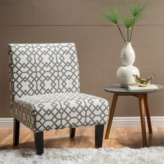 Shop for Kassi Grey Geometric Fabric Accent Slipper Chair by Christopher Knight Home. Get free shipping at Overstock.com - Your Online Furniture Outlet Store! Get 5% in rewards with Club O! - 20423306